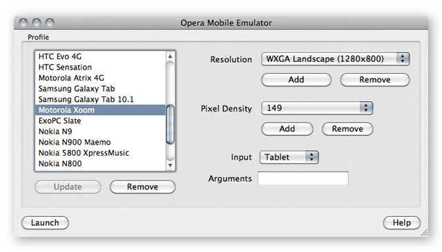 The Opera Mobile Emulator's launcher