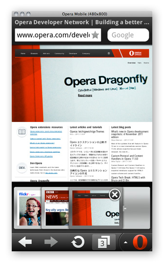 The Opera Mobile Emulator running on Mac