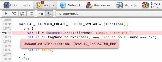 脚本面板以工具提示的方式直接显示 JavaScript runtime error